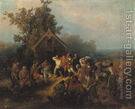 Village Dance in Summer by Russian School - Reproduction Oil Painting