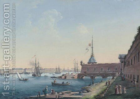 View of the Peter-Paul Fortress and Palace Embankment, St Petersburg by Russian School - Reproduction Oil Painting