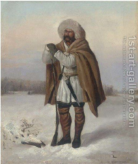 A huntsman in the snow by Russian School - Reproduction Oil Painting