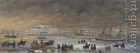 The port of Archangel in winter by Russian School - Reproduction Oil Painting