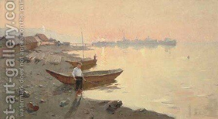 Fishing at sunset by Russian School - Reproduction Oil Painting