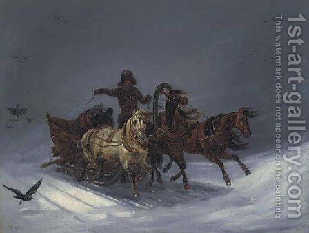 Troika ride by Russian School - Reproduction Oil Painting