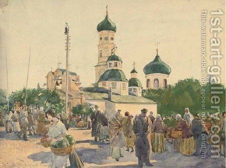 In a Russian market square by Russian School - Reproduction Oil Painting
