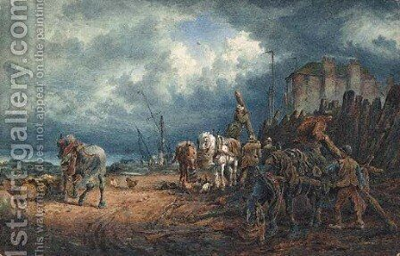 Figures and Horses on the Shoreline with an impending Storm by Sydney Goodwin - Reproduction Oil Painting