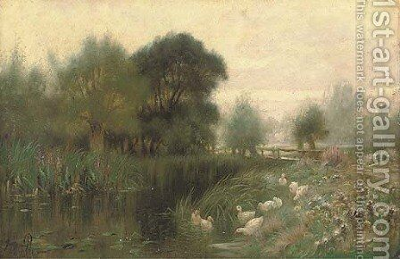 Ducks on a river by Sidney Pike - Reproduction Oil Painting