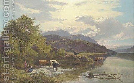 Mountain landscape with figures and cattle by a lake by Sidney Richard Percy - Reproduction Oil Painting
