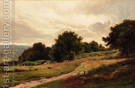 Sheep on a hillside by Sidney Richard Percy - Reproduction Oil Painting