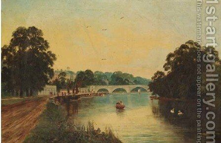 Rowing at Richmond Bridge by Sidney Yates Johnson - Reproduction Oil Painting