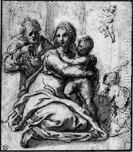 The Holy Family with the Infant Baptist, and a subsidiary study of the child by Sienese School - Reproduction Oil Painting