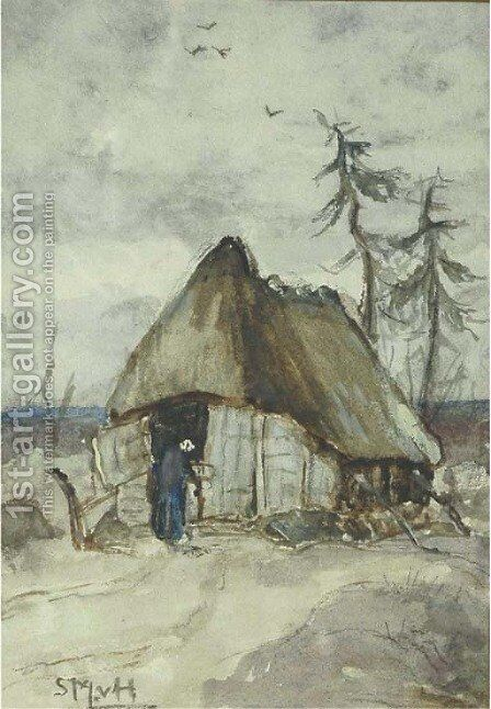 A peasantwoman by a shed on the heath by Sientje Mesdag Van Houten - Reproduction Oil Painting