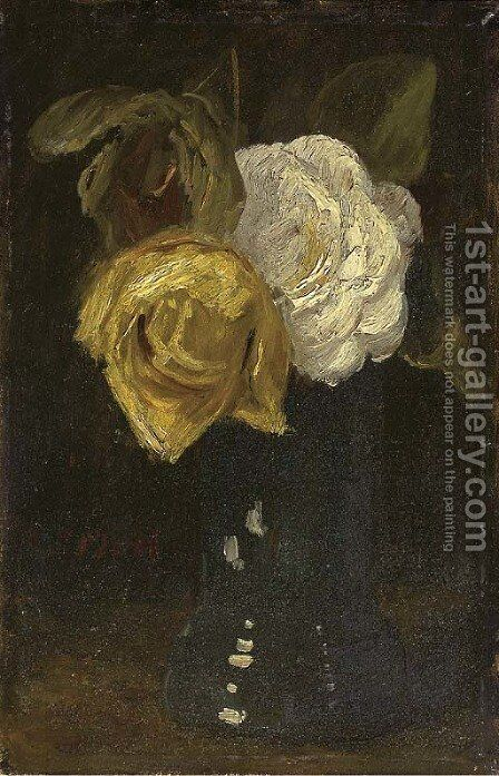 A white and yellow rose in a blue vase by Sientje Mesdag Van Houten - Reproduction Oil Painting