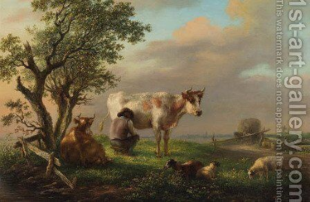 Milking time by Simon Andreas Krausz - Reproduction Oil Painting