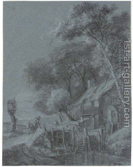 A mill on a wooded riverbank, with two labouring peasants by Simon De Vlieger - Reproduction Oil Painting