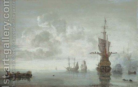 The squadron of Admiral Maarten van Tromp preparing to make sail, the flagship Aemilia firing a salute for the Admiral in his barge by Simon De Vlieger - Reproduction Oil Painting
