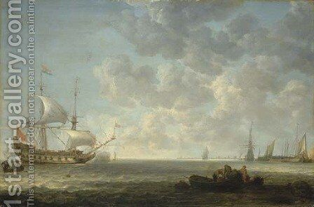 A coastal landscape with Dutch frigates exchanging salutes offshore in a light breeze, by a pier with a frigate, a haring buis and other vessels by Simon De Vlieger - Reproduction Oil Painting