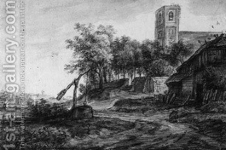 View of a village road with a well by a church by Simon De Vlieger - Reproduction Oil Painting