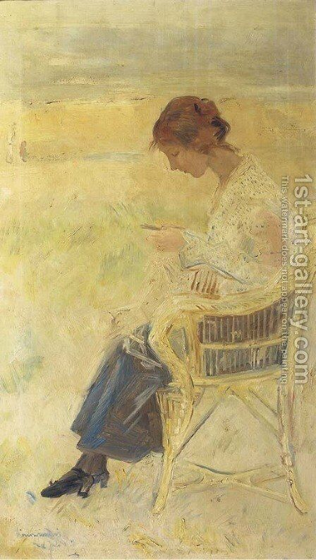 A girl on the beach by Simon Maris - Reproduction Oil Painting