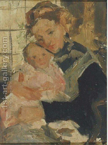 Loving care mother and child by Simon Maris - Reproduction Oil Painting