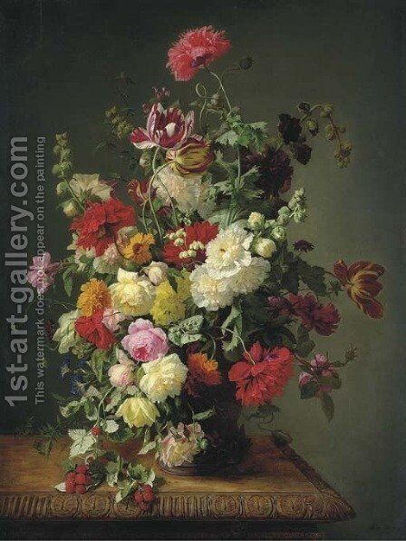 A Still Life of Roses, Tulips, Peonies by Simon Saint-Jean - Reproduction Oil Painting