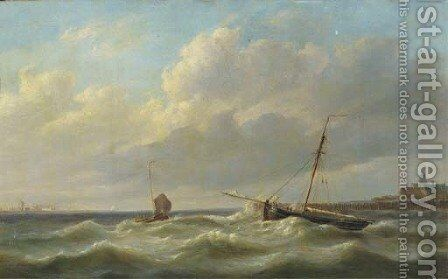 Anchoring near a coastline by Simon Van Brakel - Reproduction Oil Painting