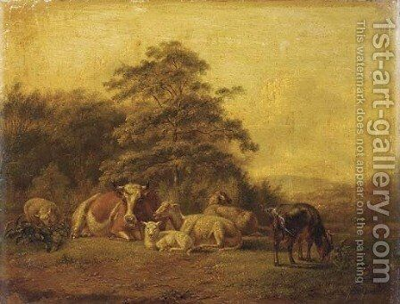 Cattle in a meadow by Simon Van Den Berg - Reproduction Oil Painting