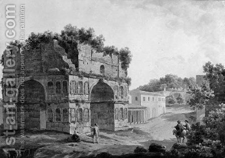 The Tomb of Cecilia Metella on the Via Appia, Rome by Simone Pomardi - Reproduction Oil Painting