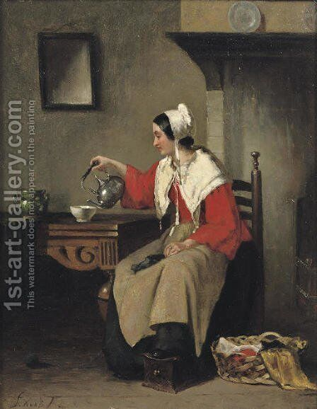 Pouring tea by Sipke Kool - Reproduction Oil Painting