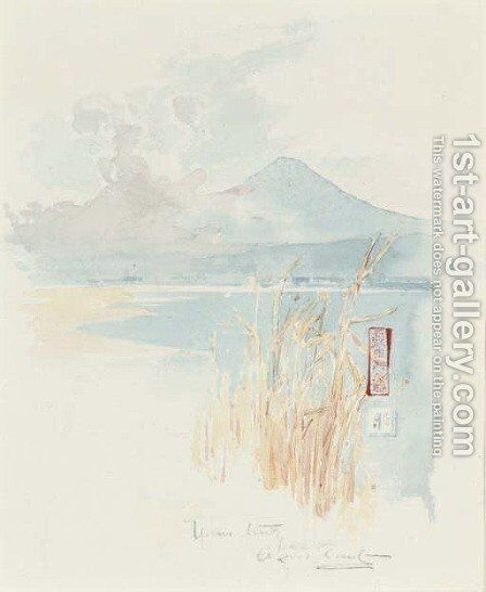 Rushes on the edge of a Japanese lake by Sir Alfred East - Reproduction Oil Painting