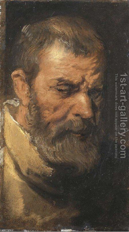 The head of a saint a sketch by Sir Anthony Van Dyck - Reproduction Oil Painting
