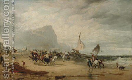 Smugglers Alarmed by an Unexpected Change from Hazy Weather while Landing Their Cargo by Sir Augustus Wall Callcott - Reproduction Oil Painting