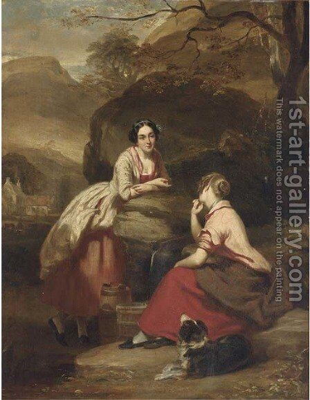Peggy and Jenny from the Gentle Shepherd by Daniel Macnee - Reproduction Oil Painting