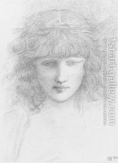 Head of a young girl by Sir Edward Coley Burne-Jones - Reproduction Oil Painting