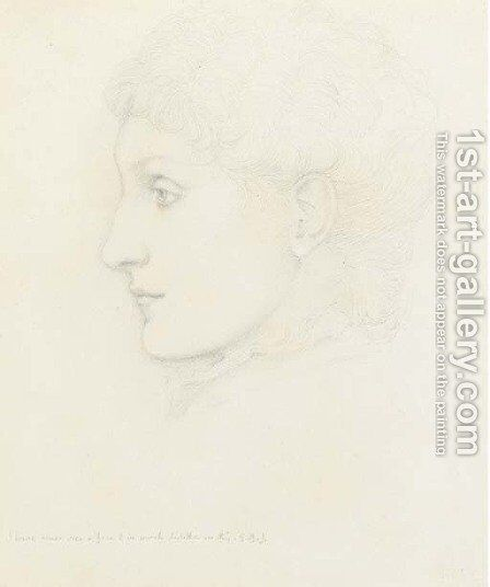 Portrait of lady, in profile to the left, traditionally identified as Georgiana Burne-Jones by Sir Edward Coley Burne-Jones - Reproduction Oil Painting