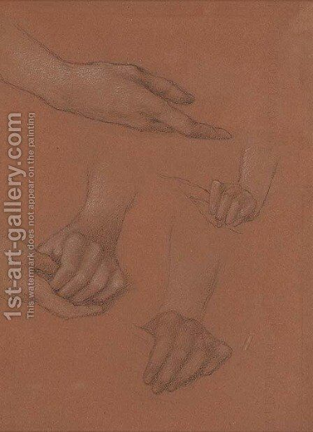 Study of hands for the portrait of Amy Gaskell by Sir Edward Coley Burne-Jones - Reproduction Oil Painting