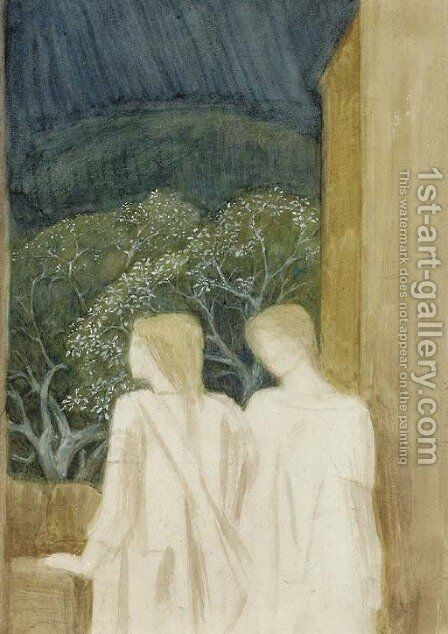 Two figures on a terrace a study for 'Arthur in Avalon' by Sir Edward Coley Burne-Jones - Reproduction Oil Painting