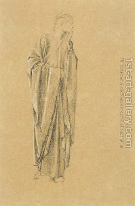 Study of a robed figure for the Danae by Sir Edward Coley Burne-Jones - Reproduction Oil Painting