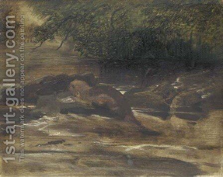 A river scene, with an otter eating a fish, a sketch by Sir Edwin Henry Landseer - Reproduction Oil Painting