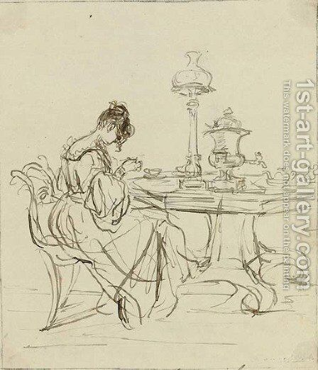 Study of a lady seated at a tea-table by Sir Francis Grant - Reproduction Oil Painting