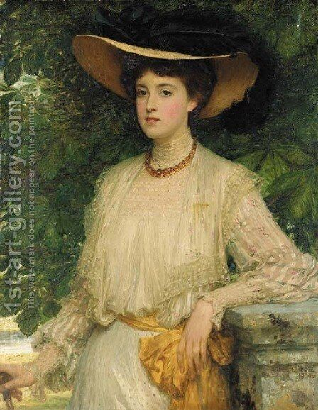 Portrait of Margaret, daughter of J.C. imThurn Esq. by Sir Frank Dicksee - Reproduction Oil Painting