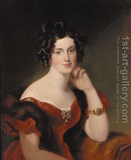 Portrait of Lady Elizabeth Harcourt by Sir George Hayter - Reproduction Oil Painting
