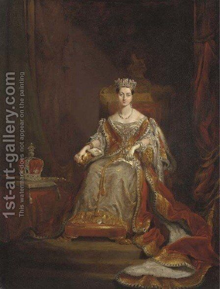 Portrait of Queen Victoria (1819-1901) by Sir George Hayter - Reproduction Oil Painting