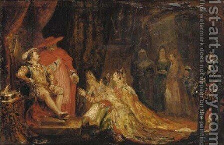 The three Catholic Queens praying before King Henry VIII by Sir George Hayter - Reproduction Oil Painting