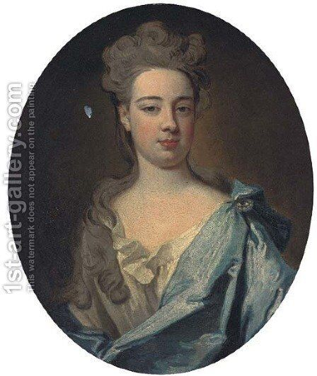 Portrait of a lady, bust-length, in a grey dress and blue mantle by Sir Godfrey Kneller - Reproduction Oil Painting