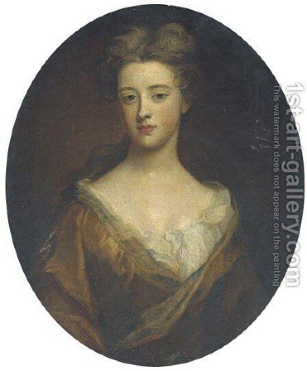 Portrait of a lady, half-length, in a brown dress by Sir Godfrey Kneller - Reproduction Oil Painting