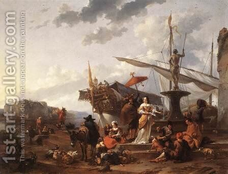 A Southern Harbour Scene by Nicolaes Berchem - Reproduction Oil Painting