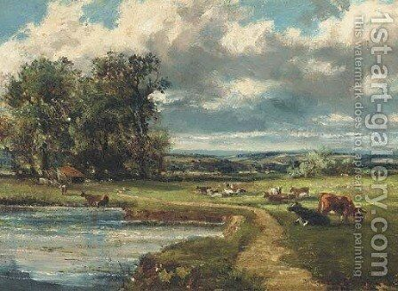 Cattle grazing by a river by Herbert Hughes Stanton - Reproduction Oil Painting