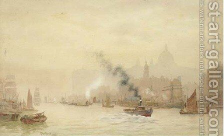 A view of St. Paul's from across the Thames by Sir Hubert James Medleycott - Reproduction Oil Painting