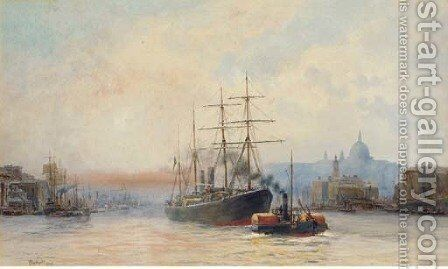 Towing down river in the Pool of London by Hubert James Medlycott - Reproduction Oil Painting