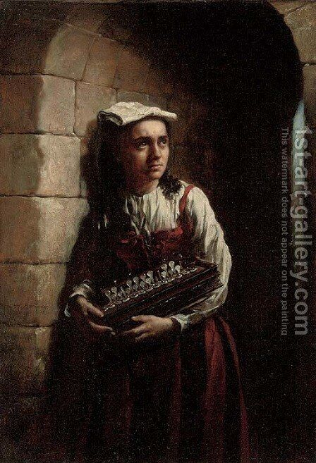 The accordian girl by Sir Hubert von Herkomer - Reproduction Oil Painting