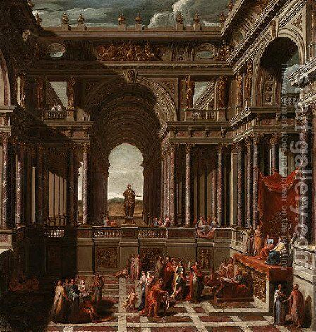 A Capriccio with Saint Paul before Agrippa by Sir James Thornhill - Reproduction Oil Painting